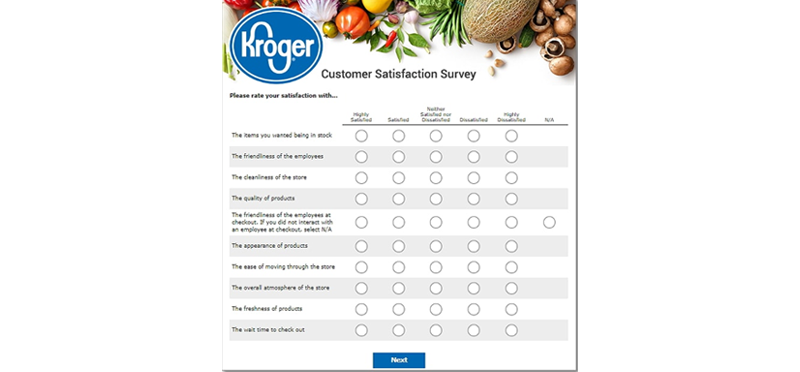 customer satisfaction survey at KrogerFeedback